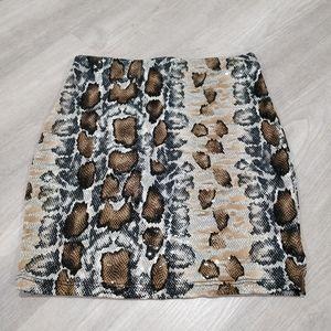 Windsor Snake print sequin stretchy mini skirt